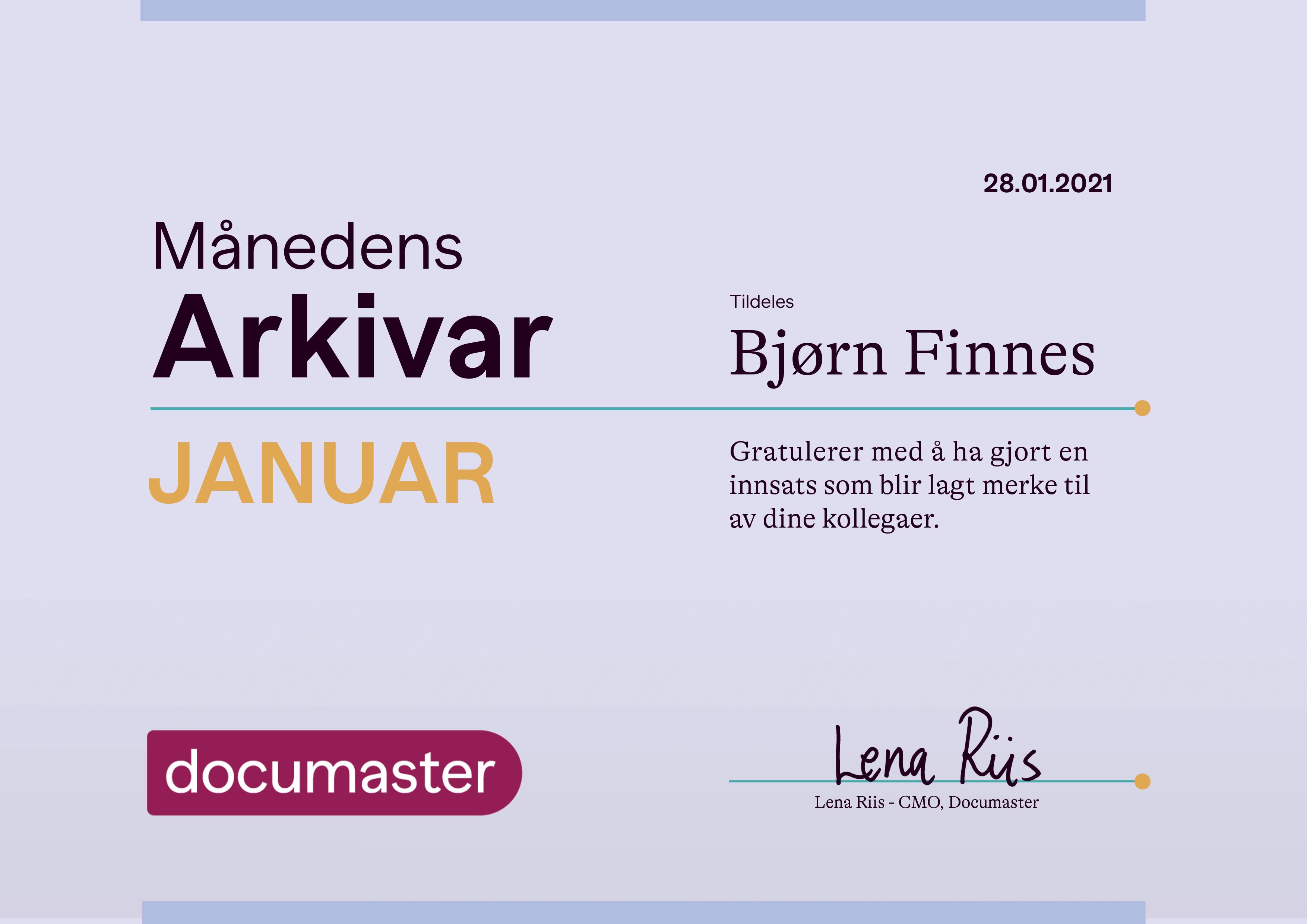 Månedens arkivar Januar 2021 - Bjørn Finnes
